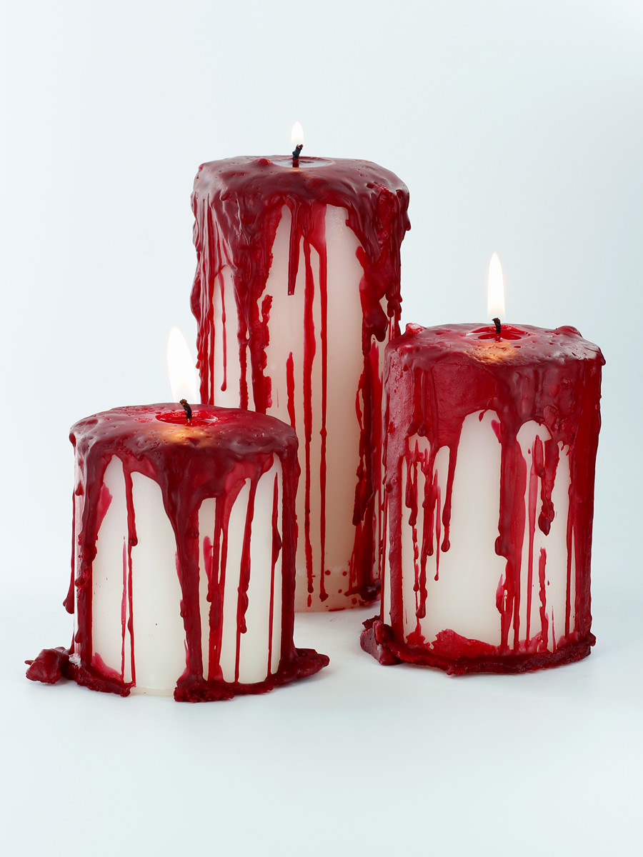 Creepy bloody pillar candles candle making techniques for How to make candle sticks