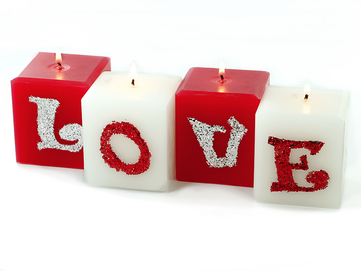 Valentines Home Decor Glitter Love Pillar Candles Candle Making Techniques